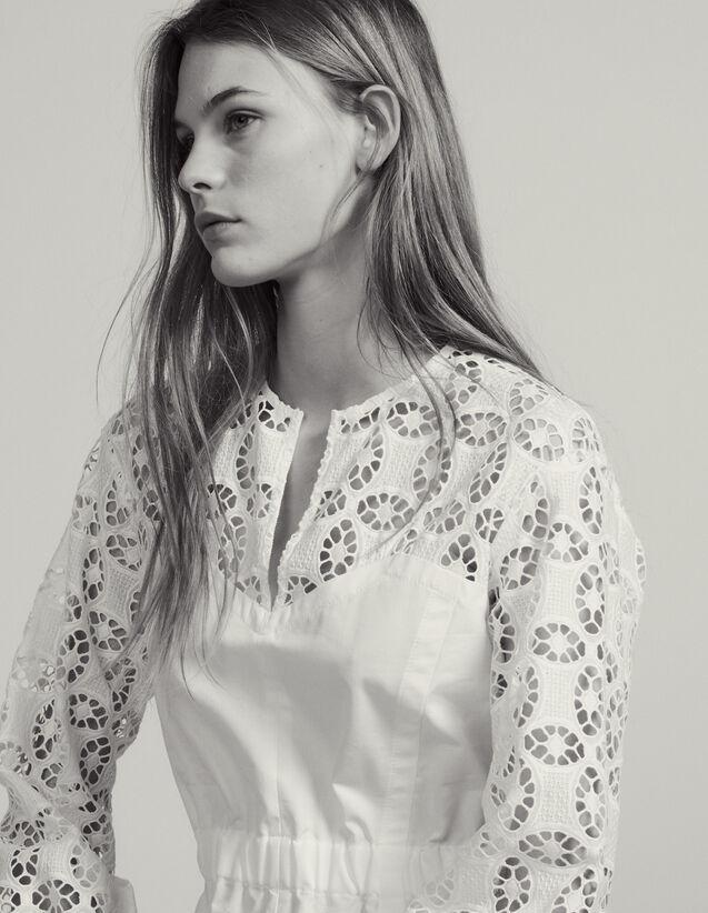 Top Bi-Matière Avec De La Dentelle : Tops & Chemises couleur Blanc