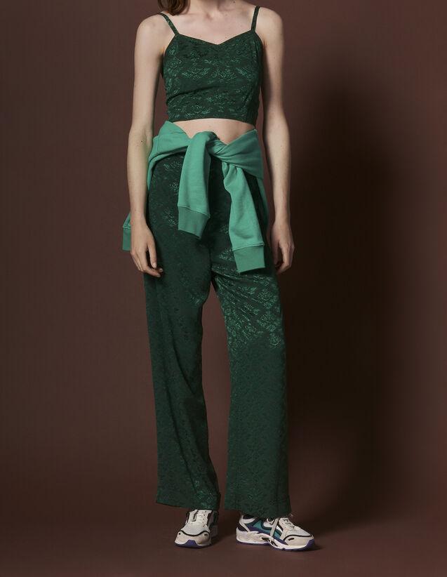 Pantalon fluide taille haute en jacquard   Pantalons couleur Chlorophylle 8363337bea54