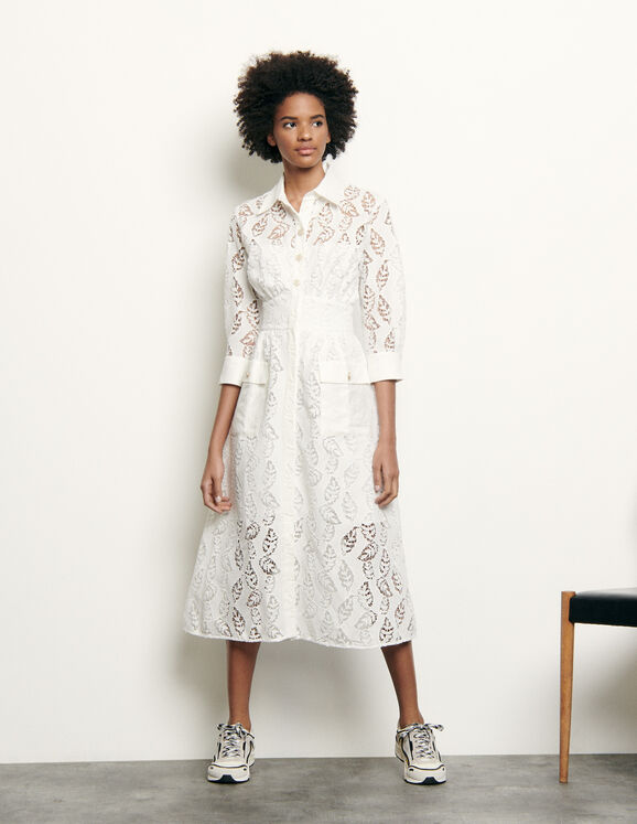 Robe longue chemise en broderie : Robes couleur blanc
