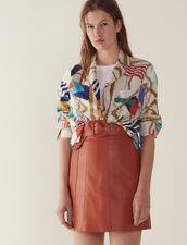 Jupe En Cuir Avec Ceinture : Jupes & Shorts couleur Caramel