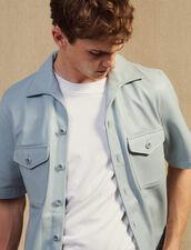 Chemise Manches Courtes En Agneau : Chemises couleur Bleu Ciel
