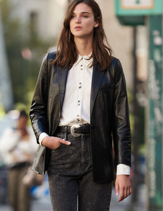 Veste De Tailleur En Cuir : Blousons & Vestes couleur Noir
