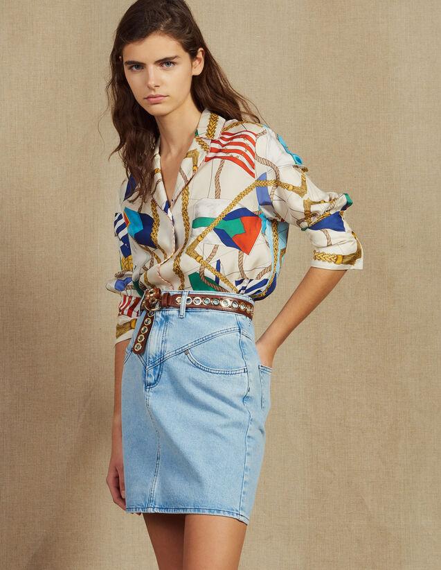 Jupe Courte En Jean Avec Surpiqûres : Jupes & Shorts couleur Blue Vintage - Denim