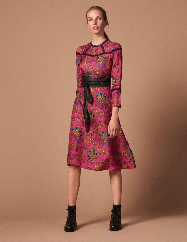Robe en twill de soie et dentelle   Copy of Kleider couleur Pink - Camel 2831aaf2d86