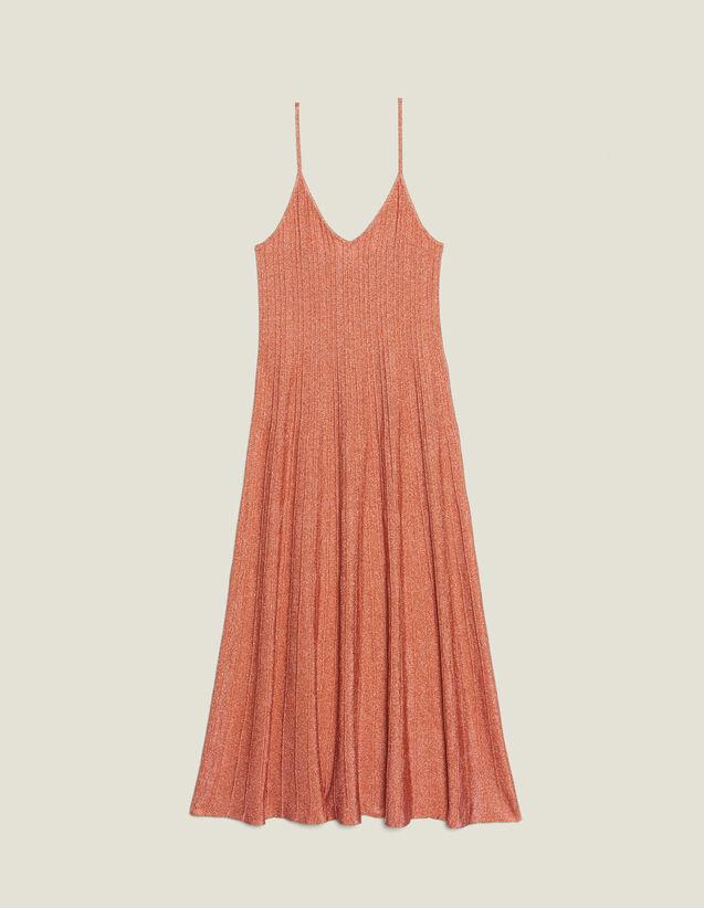 Robe Longue En Maille À Fines Bretelles : Robes couleur Pêche