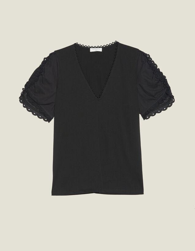 T-Shirt À Manches Courtes Bouffantes : T-shirts couleur Noir