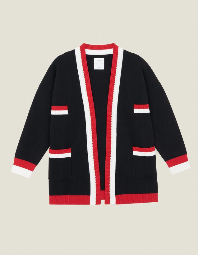 Cardicoat À Rayures Contrastantes : Pulls & Cardigans couleur Noir