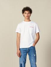 T-Shirt À Message En Coton : Toute la collection Hiver couleur Marine