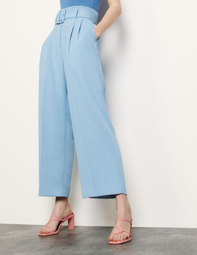 Pantalon large avec ceinture : Pantalons couleur Ciel