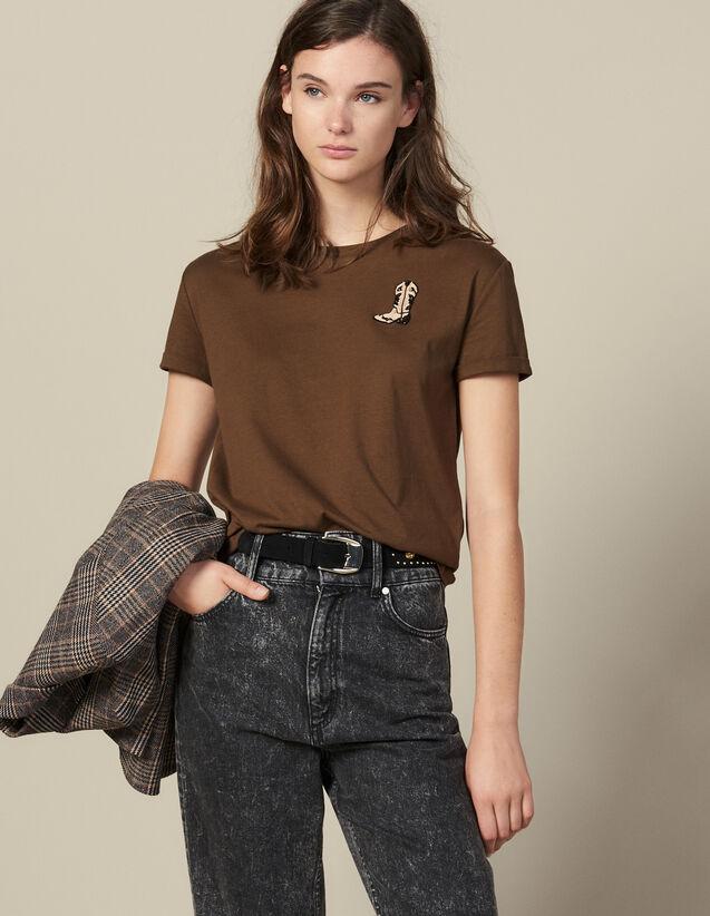 T-Shirt À Patch Brodé Boots : T-shirts couleur Kaki