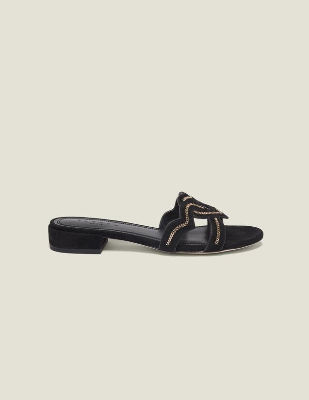 Sandales Cœur En Chèvre Velours : Toutes les Chaussures couleur Noir