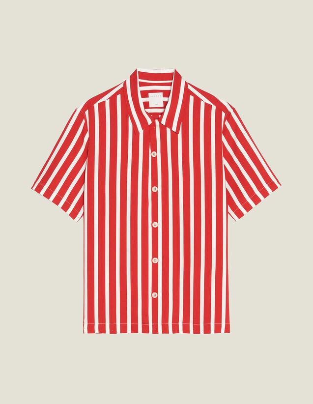 Chemisette À Rayures Contrastantes : Chemises couleur Rouge
