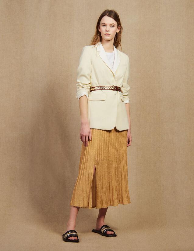 Veste De Tailleur À Col Contrasté : Blousons & Vestes couleur Ecru