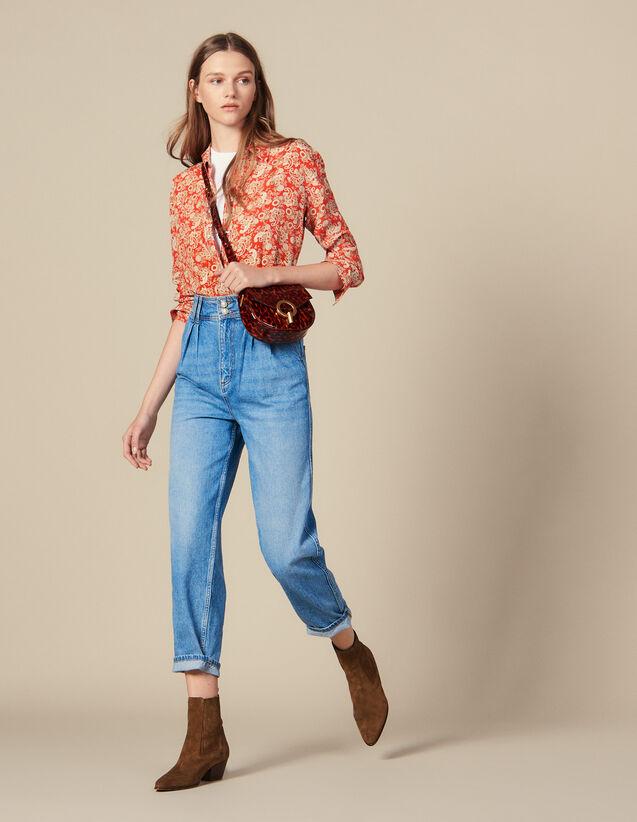 Jean Taille Haute Avec Boutons Perles : Jeans couleur Bleu jean