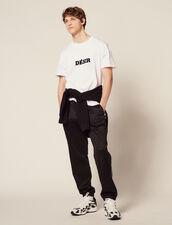 T-Shirt En Coton À Message : T-shirts & Polos couleur Blanc