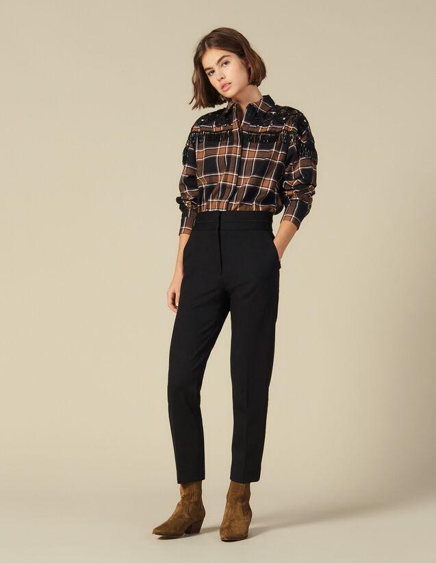 Pantalon Classique Taille Haute : Pantalons couleur Noir