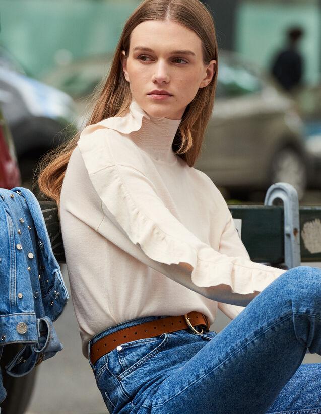 Pull À Col Montant À Volant Asymétrique : Pulls & Cardigans couleur Chair