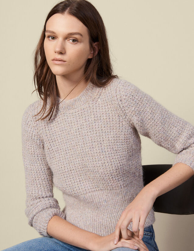 Pull Col Rond Effet Maille Perlée : Pulls & Cardigans couleur Gris