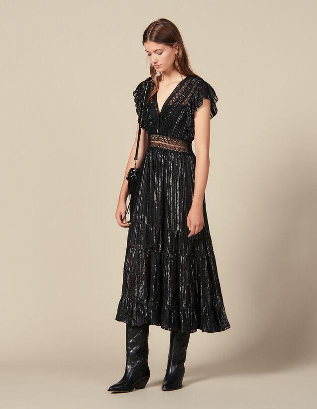 Robe Longue En Soie Lurex : Robes couleur Noir