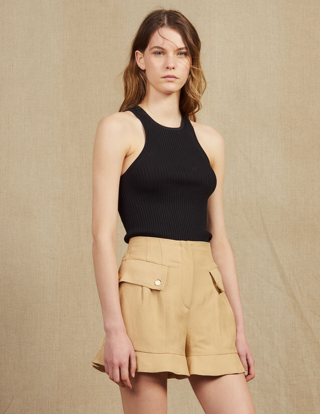 Short Court À Volants : Jupes & Shorts couleur Beige