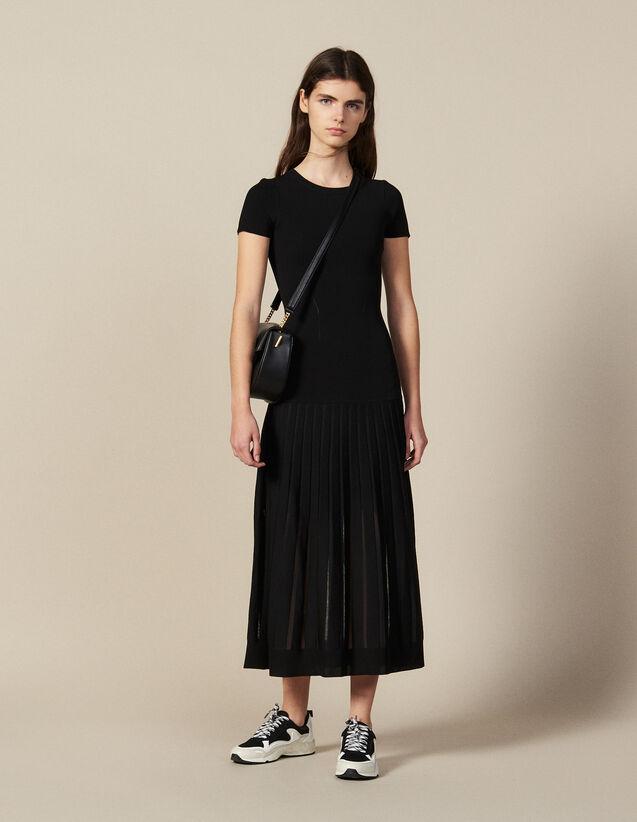 Robe Longue En Maille Prés Du Corps : -30% couleur Noir