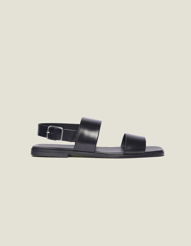 Sandale En Cuir : Chaussures couleur Noir