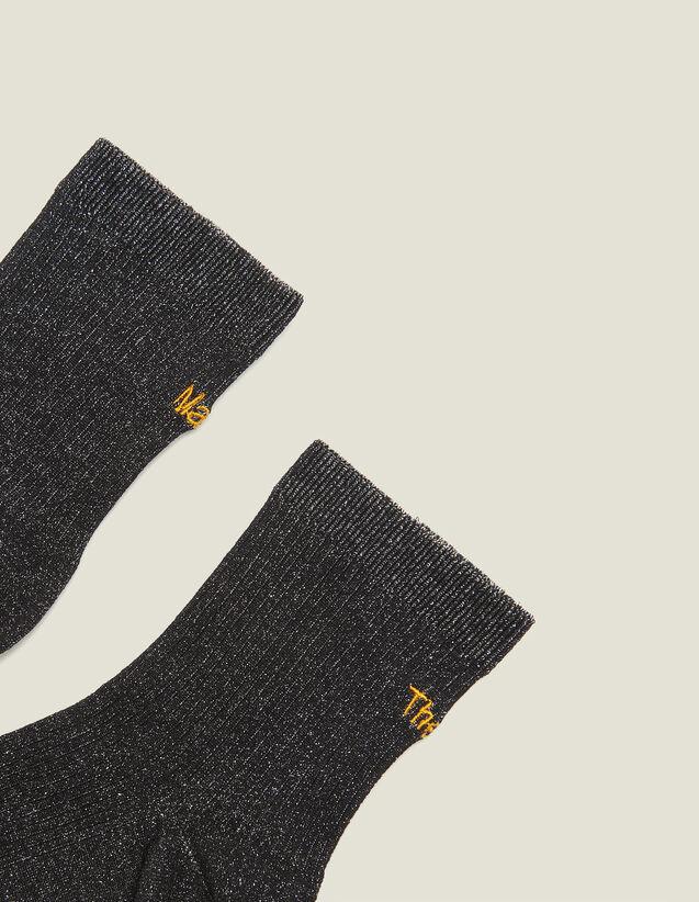 Chaussettes Lurex Avec Broderie : Chaussettes couleur Noir