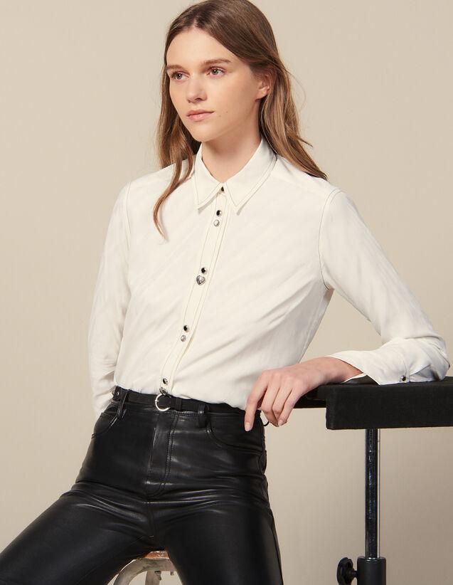 Chemise  Ornée De Boutons Bijoux : -30% couleur Ecru
