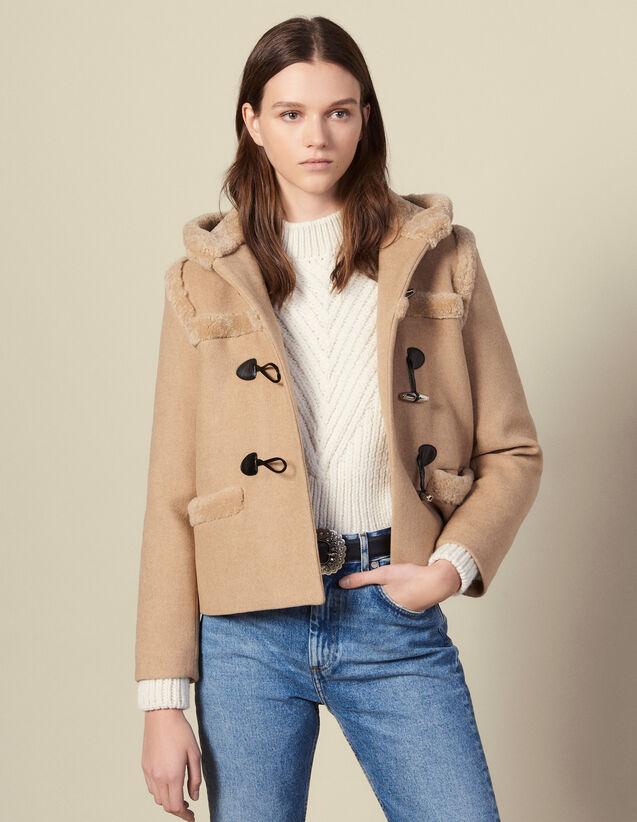Duffle-coat court en mouton retourné : Manteaux couleur Beige