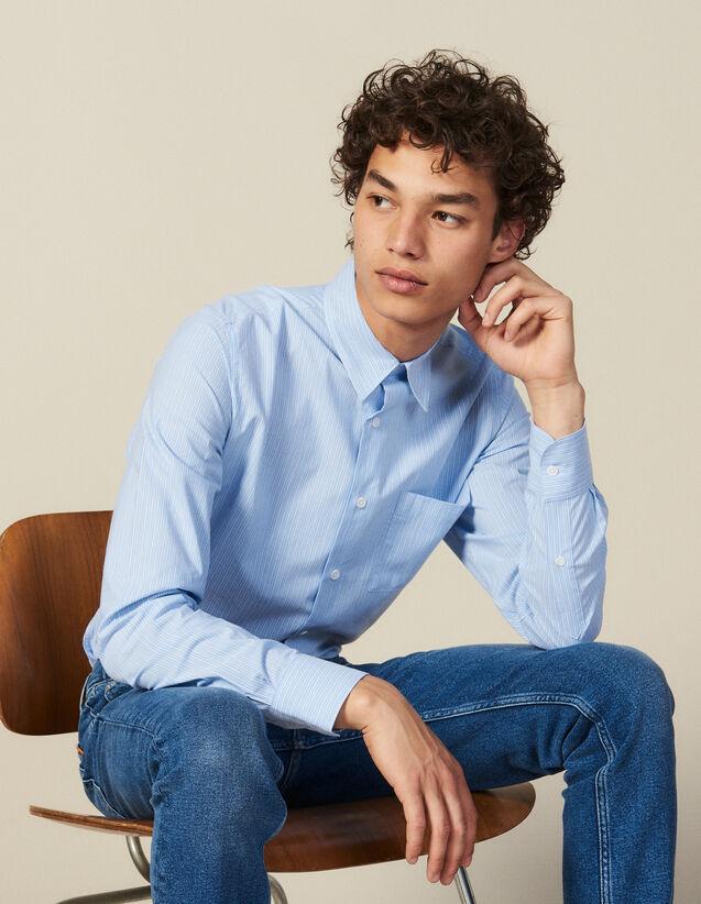 Chemise À Rayures Avec Poche Poitrine : Collection Hiver couleur Bleu/Blanc
