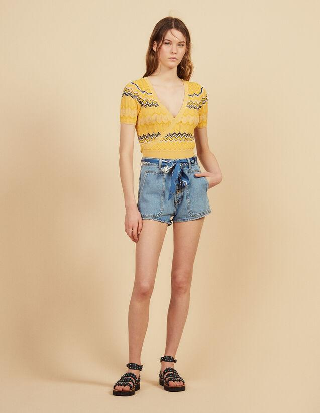 Top Cache Cœur En Maille : Tops & Chemises couleur Terracotta