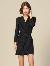 Robe courte portefeuille en jacquard : -30% couleur Noir