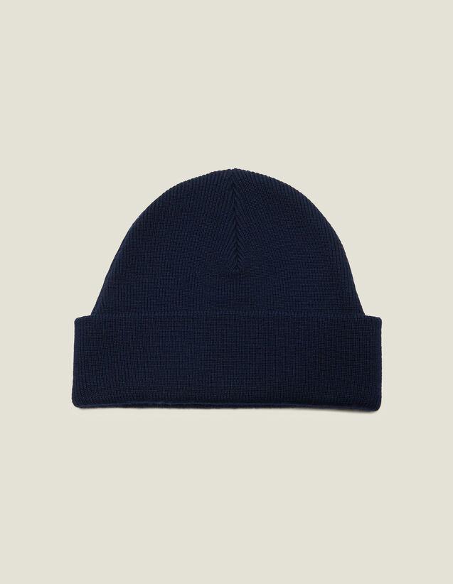 Bonnet En Laine Mélangée : Gants & Bonnets couleur Noir