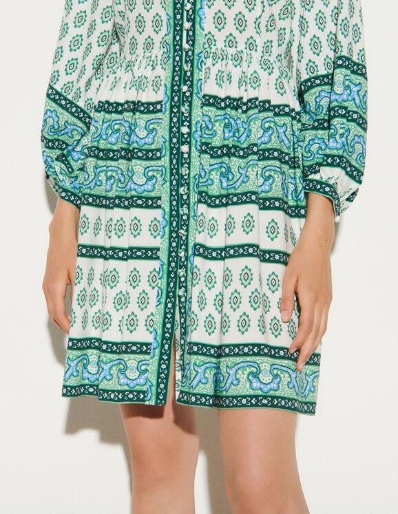 Robe chemise imprimée courte SFPRO01203 Vert - Robes | Sandro Paris
