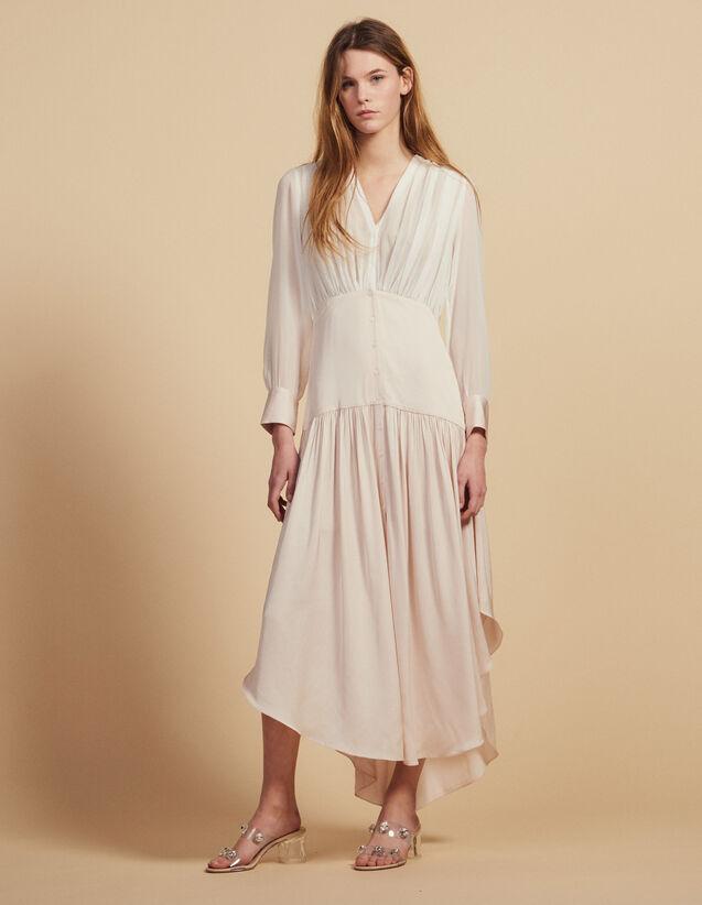 Robe Longue Asymétrique Bi-Matière : Robes couleur Rose pâle
