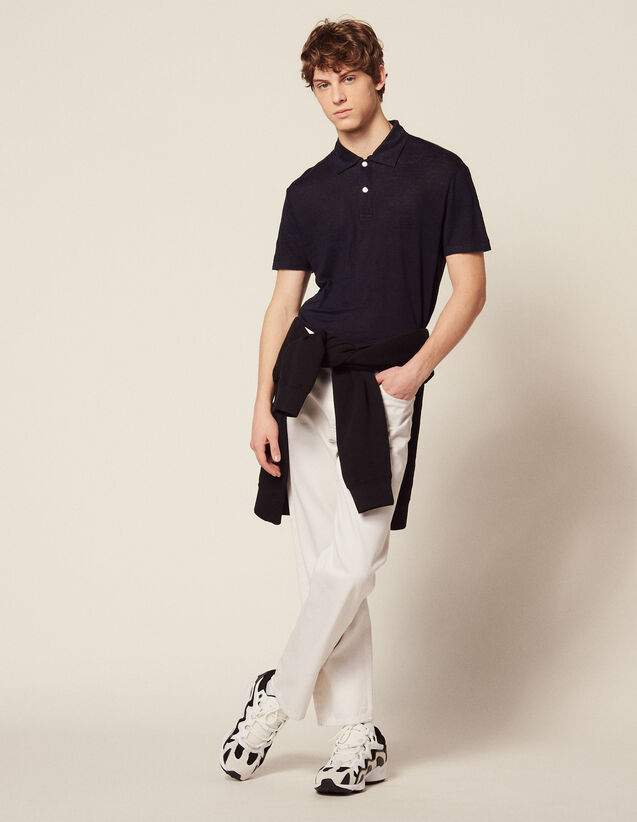 Polo À Manches Courtes En Lin : T-shirts & Polos couleur Blanc