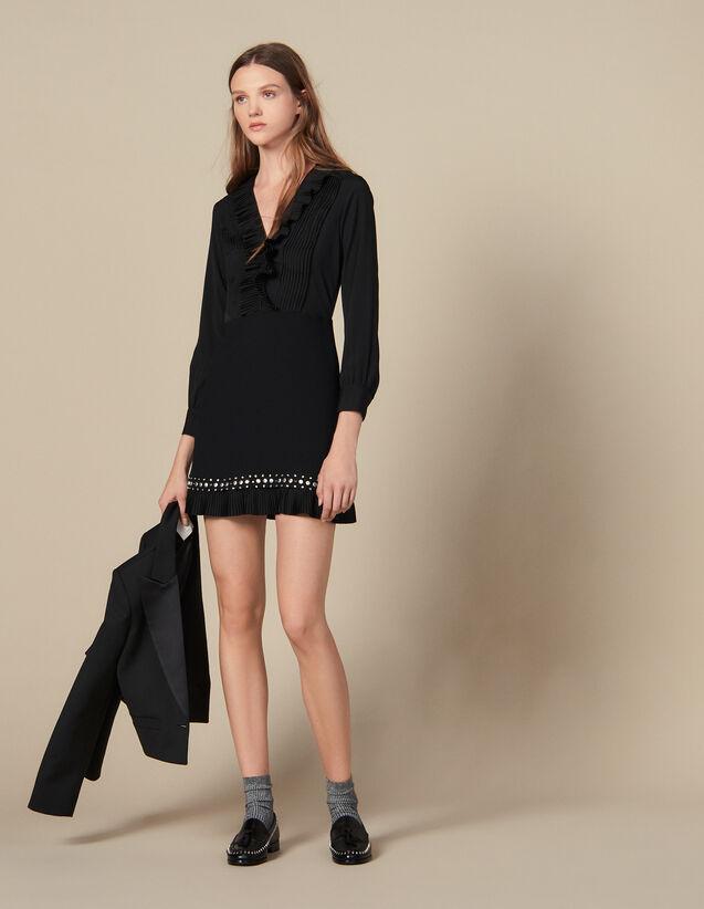 Robe Courte Ornée De Plissés Et Studs : Robes couleur Noir