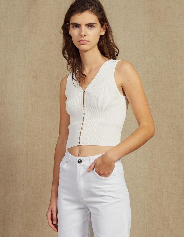 Top en maille avec boutons bijoux   Tops   Chemises couleur Blanc 4d7f77f4b0e