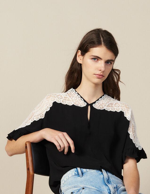 Top Avec Empiècement De Dentelle : Tops & Chemises couleur Blanc