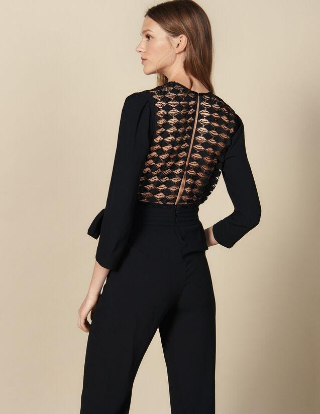 Combinaison pantalon cache-cœur : -30% couleur Noir