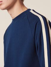 Sweat En Coton Avec Galons Appliqués : Sweats couleur Marine