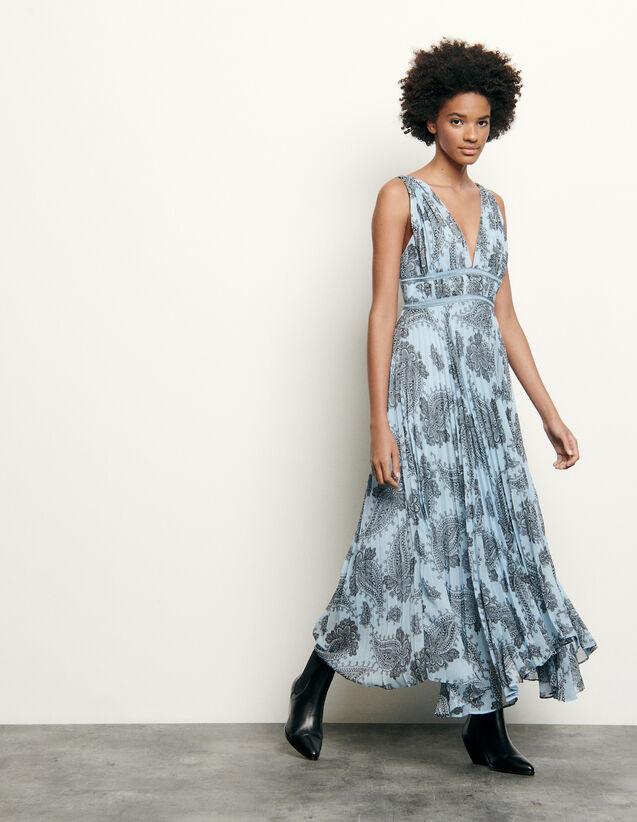 Robe longue en mousseline imprimée : Collection Été couleur Bleu