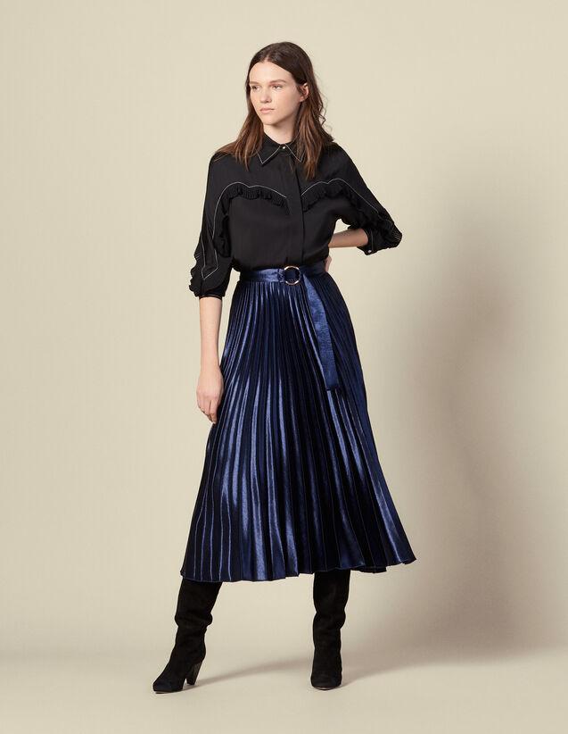 Jupe longue plissée en satin soleil : Jupes & Shorts couleur Navy