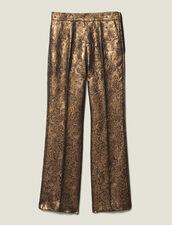Pantalon De Tailleur Évasé En Brocard : Pantalons & Jeans couleur Or