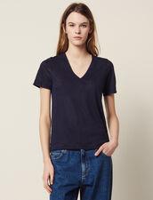 T-Shirt En Lin À Manches Courtes : T-shirts couleur Terracotta