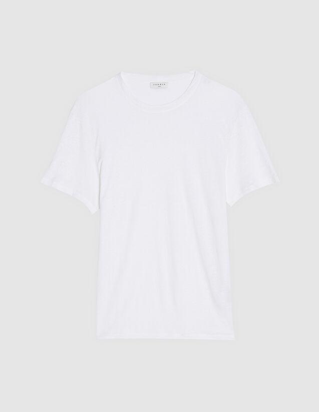 T-Shirt En Lin : T-shirts & Polos couleur blanc