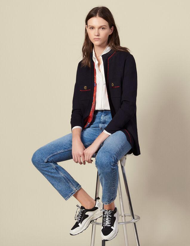 Cardi-coat droit à doublure imprimée : Pulls & Cardigans couleur Marine