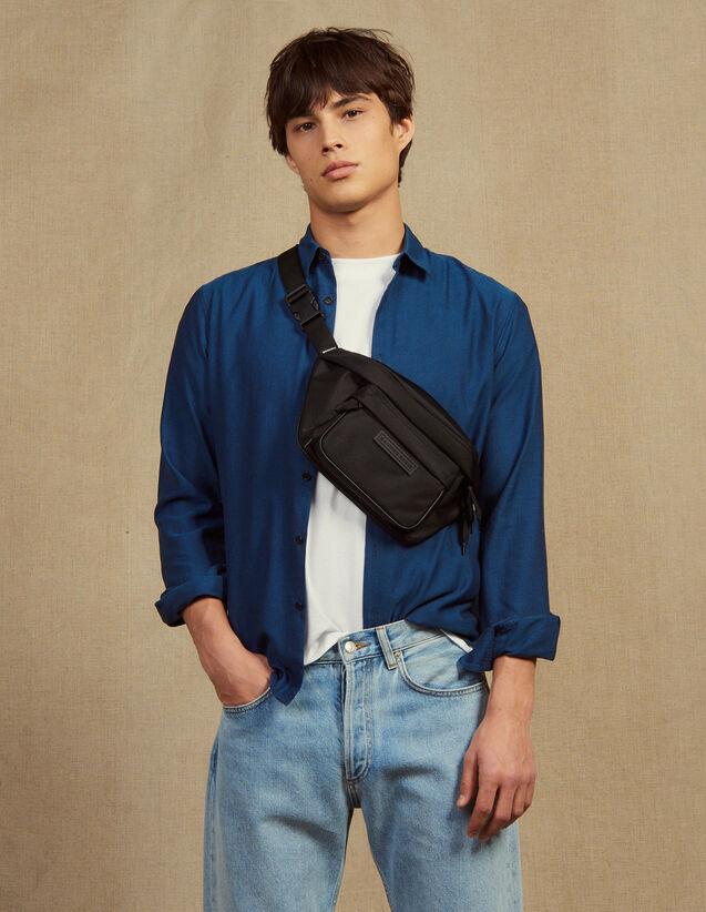 Chemise En Tissu Chevron Ton Sur Ton : Chemises couleur Bleu