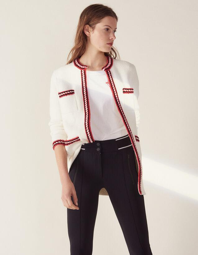 Cardigan Orné De Galons Tricolore : Pulls & Cardigans couleur Ecru