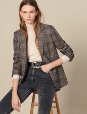Blazer en laine à carreaux : LastChance-ES-F40 couleur Camel